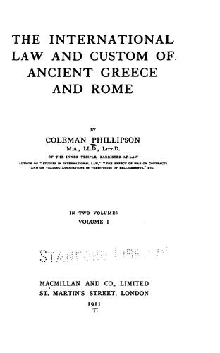 Download The international law and custom of ancient Greece and Rome