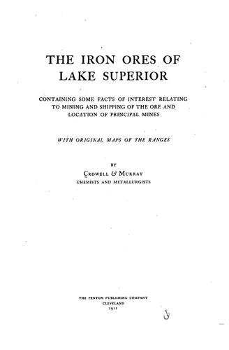 The iron ores of Lake Superior