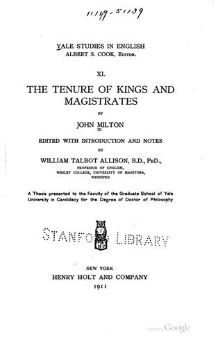 Download The tenure of kings and magistrates