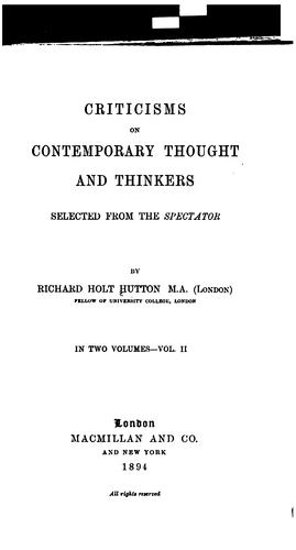 Criticism on contemporary thought and thinkers