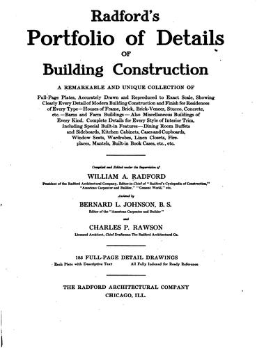 Download Radford's portfolio of details of building construction