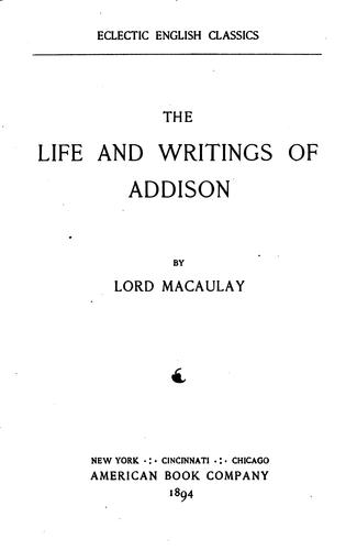 Download The life and writings of Addison.
