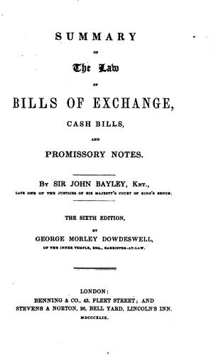 Download Summary of the law of bills of exchange, cash bills, and promissory notes.