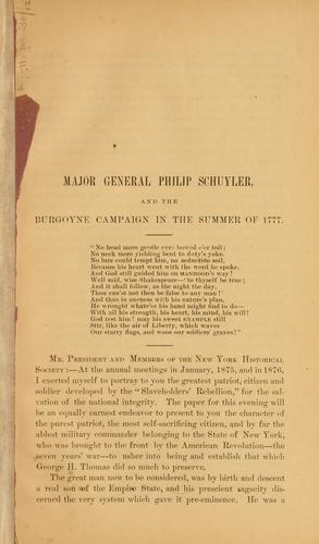 Download Major General Philip Schuyler, and the Burgoyne Campaign in the summer of 1777