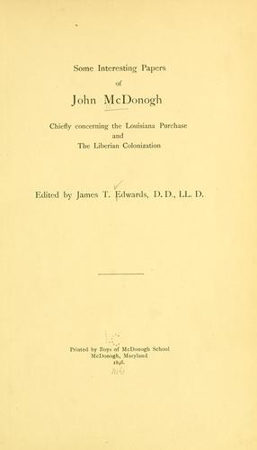 Download Some interesting papers of John McDonogh
