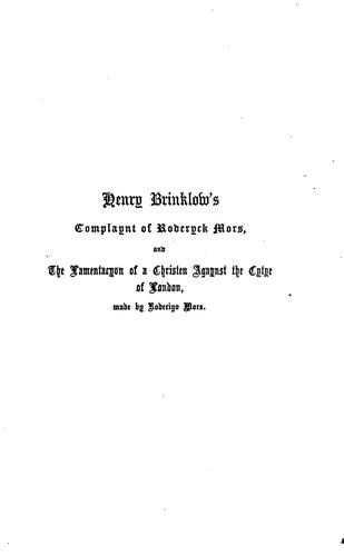 Henry Brinklow's Complaynt of Roderyck Mors