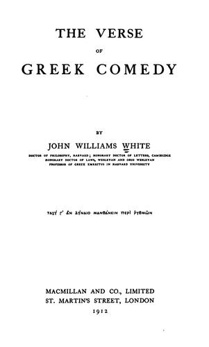 The verse of Greek comedy