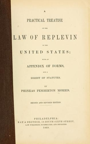 Download A practical treatise on the law of replevin in the United States