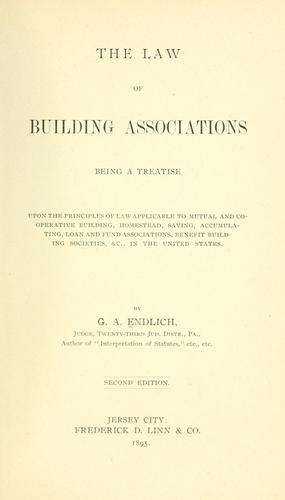 Download The law of building associations