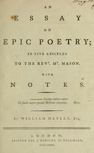 Download An essay on epic poetry