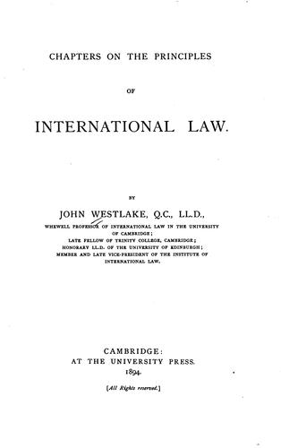 Chapters on the principles of international law.
