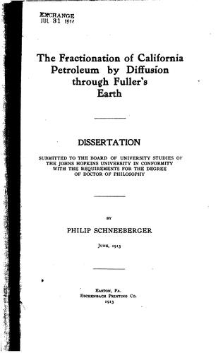 Download The fractionation of California petroleum by diffusion through fuller's earth …