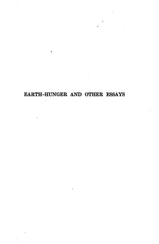 Earth-hunger and other essays