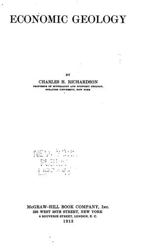 Economic geology by Richardson, Charles Henry