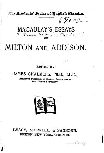 Download Macaulay's essays on Milton and Addison.