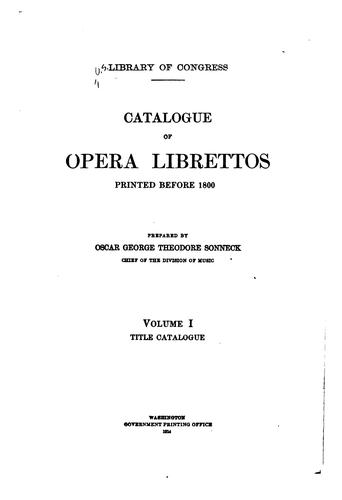 Download Catalogue of opera librettos printed before 1800