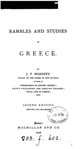 Download Rambles and studies in Greece