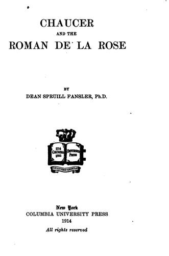 Download Chaucer and the Roman de la Rose