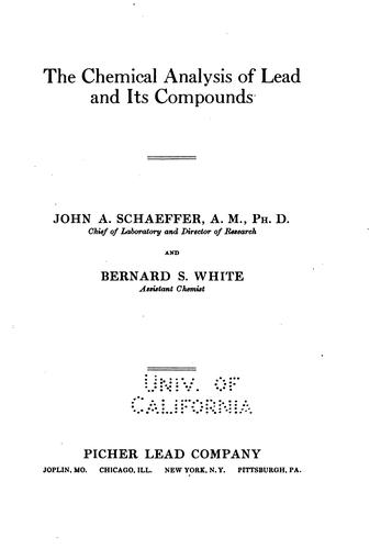 The chemical analysis of lead and its compounds
