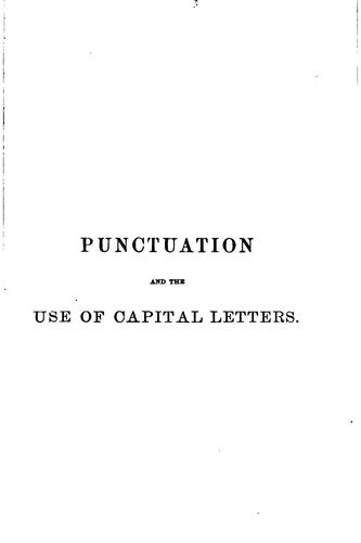 Punctuation and the use of capital letters by Hart, John S.