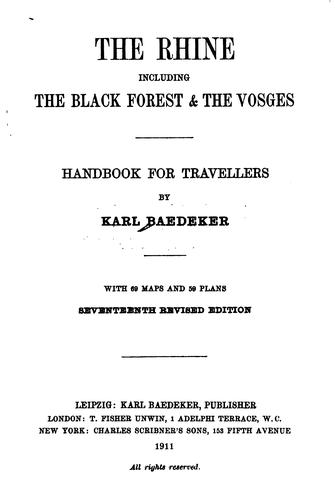 The Rhine, including the Black Forest & the Vosges by Karl Baedeker (Firm)