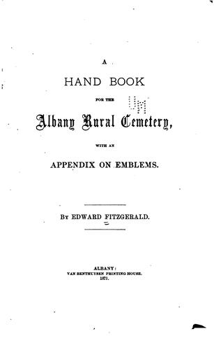 A hand book for the Albany Rural Cemetery by Fitzgerald, Edward