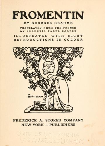 Fromentin by Beaume, Georges, 1861-1940