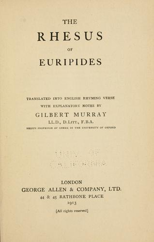The  Rhesus of Euripides by Euripides