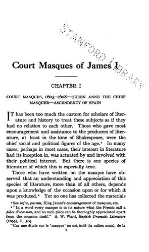Court masques of James I by Mary Sullivan