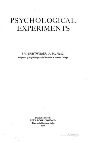 Psychological experiments by Joseph Valentine Breitwieser