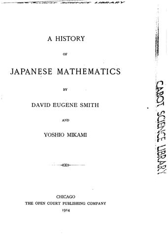 A history of Japanese mathematics by David Eugene Smith