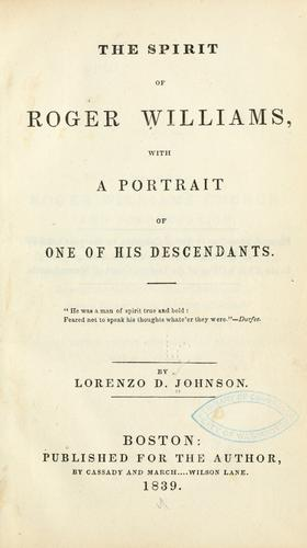 The spirit of Roger Williams by Lorenzo Dow Johnson