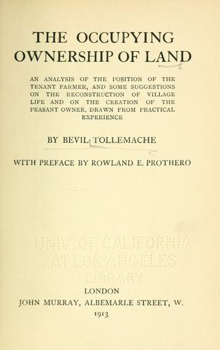 The occupying ownership of land by Bevil Tollemache