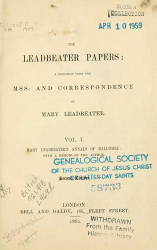 The Leadbeater papers by Mary Leadbeater